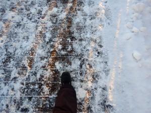 Marion, marchant sur le pont Alexandra fin novembre 2014